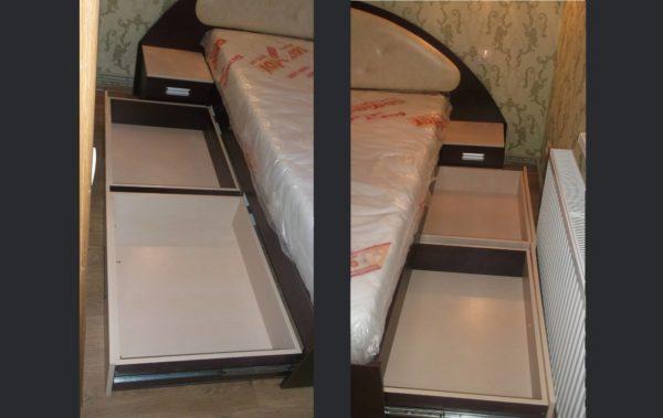 корпус кровати с выдвижными ящиками